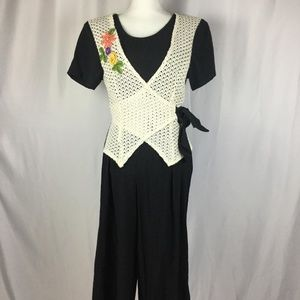 80s Palazzo Pant Jumper Crochet Wrap One Peice